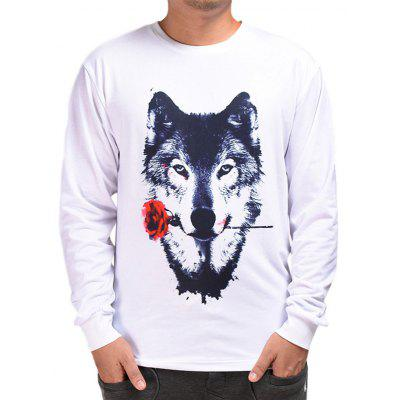 Mr.1991INC Miss.GO ST1002 Male Printed Rose Wolf T-shirt