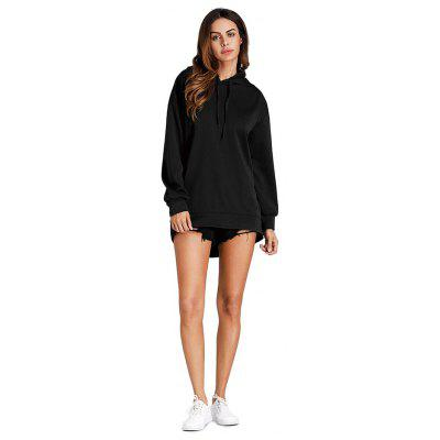 Drops Shoulder Irregular Black Hoodie