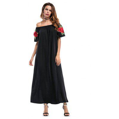 Off Shoulder Embroidered Maxi Flare Dress