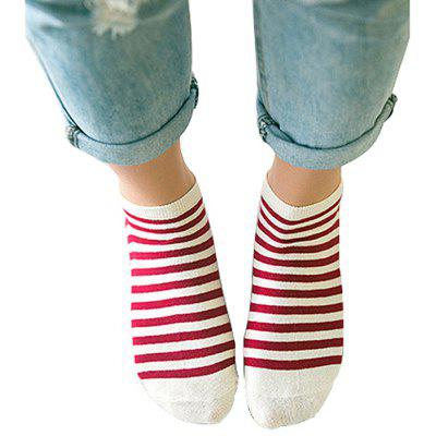 Breathable Striped Pattern Ankle Socks for Women