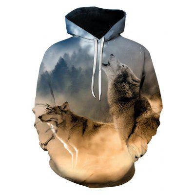 Male Loose 3D Digital Wolf Printing Hoodie