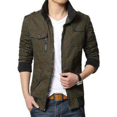 Buy NIAN JEEP 1218 Male Slim Casual Jacket with Stand-up Collar ARMY GREEN L for $62.35 in GearBest store