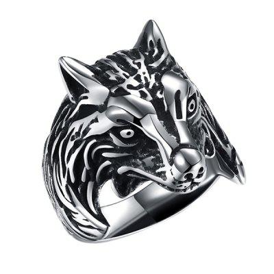 Buy Trendy Wolf Head Titanium Steel Men Ring SILVER 9 for $11.75 in GearBest store