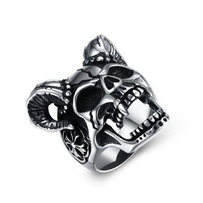 Buy Sheep Head Skull Titanium Steel Men Ring SILVER 8 for $12.29 in GearBest store