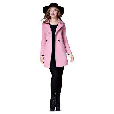 Double Breasted Solid Color Long Overcoat