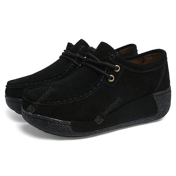 Female Stylish Thick-soled All-dressed Casual Leather Shoes