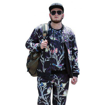 Buy COLORMIX XL Male Stand-up Collar Thickening Flower Bird Printing Jacket for $49.88 in GearBest store