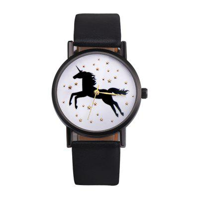 Casual Leather Band Star Unicorn Dial Unisex Student Watch