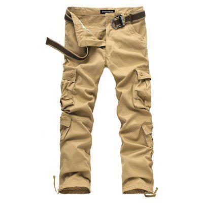 Masculino Zip Fly Straight Cargo Pants with Pockets