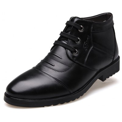 MUHUISEN Men Soft Warmest Ankle-top Leather Boots