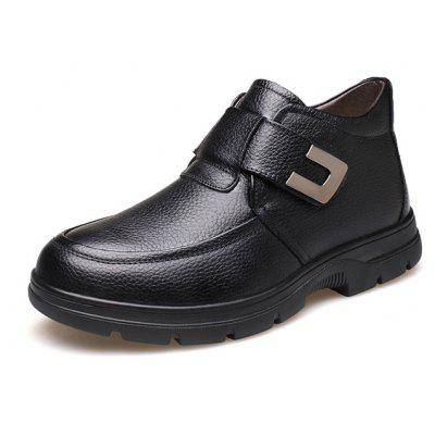 Buy BLACK 39 MUHUISEN Men Business Warmest Ankle-top Leather Boots for $43.29 in GearBest store