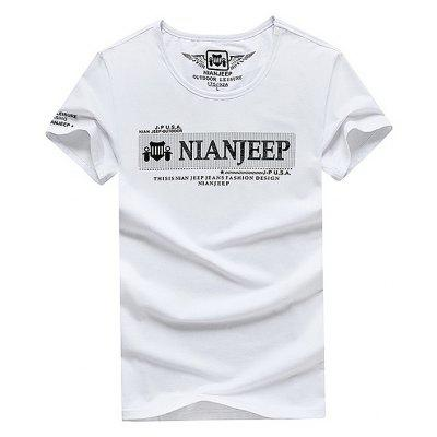 Buy NIAN JEEP Casual Simple Cotton T-shirt WHITE 4XL for $28.15 in GearBest store