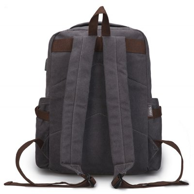 SIMU Vintage Water-resistant Laptop Backpack with USB PortBackpacks<br>SIMU Vintage Water-resistant Laptop Backpack with USB Port<br><br>Brand: SIMU<br>Closure Type: Zip, Buckle<br>Features: Wearable, Water Bottle Pocket<br>For: Outdoor, Traveling, Shopping, Daily Use<br>Gender: Men<br>Material: Canvas, Polyester<br>Package Size(L x W x H): 45.00 x 37.00 x 2.00 cm / 17.72 x 14.57 x 0.79 inches<br>Package weight: 0.9800 kg<br>Packing List: 1 x Backpack<br>Product weight: 0.9640 kg<br>Style: Casual, Fashion<br>Type: Backpacks