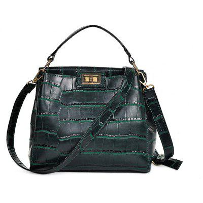 Women Vintage Crocodile Printed PU Tote Shoulder Bag