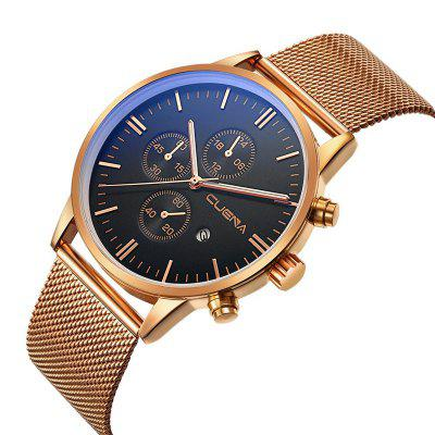 CUENA 6619 Stylish Steel Band Men Quartz WatchMens Watches<br>CUENA 6619 Stylish Steel Band Men Quartz Watch<br><br>Band material: Steel<br>Band size: 25 x 2.2cm<br>Brand: CUENA<br>Case material: Alloy<br>Clasp type: Hook buckle<br>Dial size: 4.3 x 4.3 x 1cm<br>Display type: Analog<br>Movement type: Quartz watch<br>Package Contents: 1 x Watch, 1 x Box<br>Package size (L x W x H): 28.00 x 8.00 x 3.50 cm / 11.02 x 3.15 x 1.38 inches<br>Package weight: 0.1100 kg<br>Product size (L x W x H): 25.00 x 4.30 x 1.00 cm / 9.84 x 1.69 x 0.39 inches<br>Product weight: 0.0800 kg<br>Shape of the dial: Round<br>Watch mirror: Mineral glass<br>Watch style: Fashion<br>Watches categories: Men<br>Water resistance: 30 meters