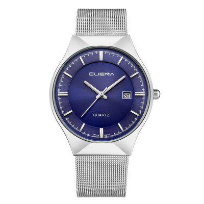 Buy CUENA 6621 Stylish Steel Band Men Quartz Watch SILVER BLUE for $33.50 in GearBest store