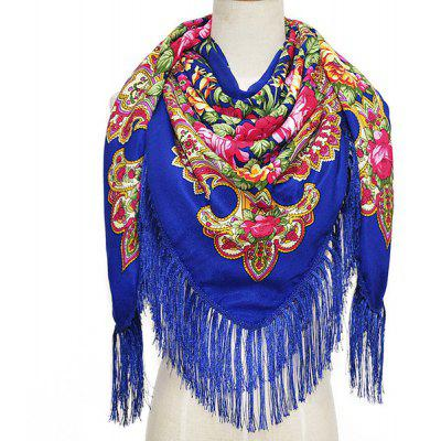 Oversized Tassels National Style Classic Pattern Shawl for Women