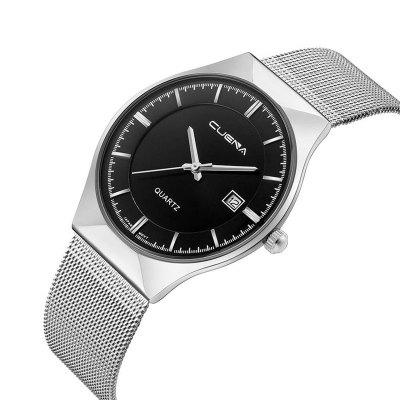 CUENA 6621 Stylish Steel Band Men Quartz WatchMens Watches<br>CUENA 6621 Stylish Steel Band Men Quartz Watch<br><br>Band material: Steel<br>Band size: 23.5 x 2cm<br>Brand: CUENA<br>Case material: Alloy<br>Clasp type: Hook buckle<br>Dial size: 3.8 x 3.8 x 0.9cm<br>Display type: Analog<br>Movement type: Quartz watch<br>Package Contents: 1 x Watch, 1 x Box<br>Package size (L x W x H): 28.00 x 8.00 x 3.50 cm / 11.02 x 3.15 x 1.38 inches<br>Package weight: 0.0860 kg<br>Product size (L x W x H): 23.50 x 3.80 x 0.90 cm / 9.25 x 1.5 x 0.35 inches<br>Product weight: 0.0560 kg<br>Shape of the dial: Round<br>Watch mirror: Mineral glass<br>Watch style: Fashion<br>Watches categories: Men<br>Water resistance: 30 meters