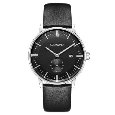 Buy CUENA 6622 Stylish Leather Band Men Quartz Watch BLACK for $29.20 in GearBest store