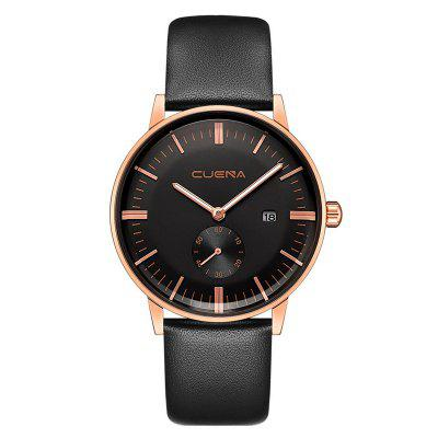 Buy CUENA 6622 Stylish Leather Band Men Quartz Watch BLACK AND ROSE GOLD for $29.20 in GearBest store