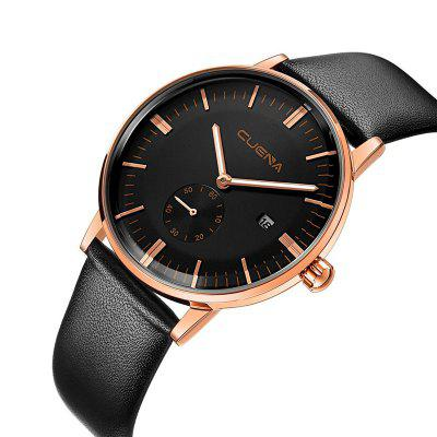 CUENA 6622 Stylish Leather Band Men Quartz WatchMens Watches<br>CUENA 6622 Stylish Leather Band Men Quartz Watch<br><br>Band material: Leather<br>Band size: 25 x 2cm<br>Brand: CUENA<br>Case material: Alloy<br>Clasp type: Pin buckle<br>Dial size: 4 x 4 x 1.05cm<br>Display type: Analog<br>Movement type: Quartz watch<br>Package Contents: 1 x Watch, 1 x Box<br>Package size (L x W x H): 28.00 x 8.00 x 3.50 cm / 11.02 x 3.15 x 1.38 inches<br>Package weight: 0.0720 kg<br>Product size (L x W x H): 25.00 x 4.00 x 1.05 cm / 9.84 x 1.57 x 0.41 inches<br>Product weight: 0.0420 kg<br>Shape of the dial: Round<br>Watch mirror: Mineral glass<br>Watch style: Fashion<br>Watches categories: Men<br>Water resistance: 30 meters