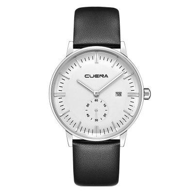 Buy CUENA 6622 Stylish Leather Band Men Quartz Watch BLACK AND SILVER for $29.20 in GearBest store