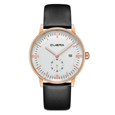 Buy CUENA 6622 Stylish Leather Band Men Quartz Watch BLACK AND GOLDEN for $29.20 in GearBest store