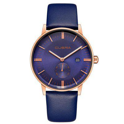 Buy CUENA 6622 Stylish Leather Band Men Quartz Watch BLUE for $29.20 in GearBest store