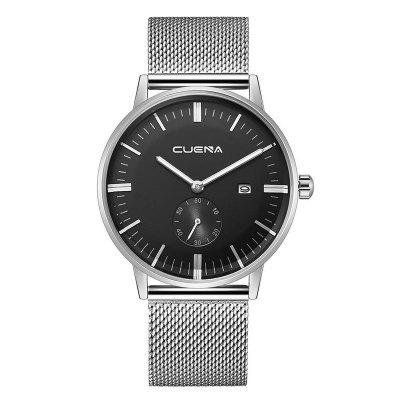 Buy SILVER AND BLACK CUENA 6622 Stylish Steel Band Men Quartz Watch for $27.32 in GearBest store