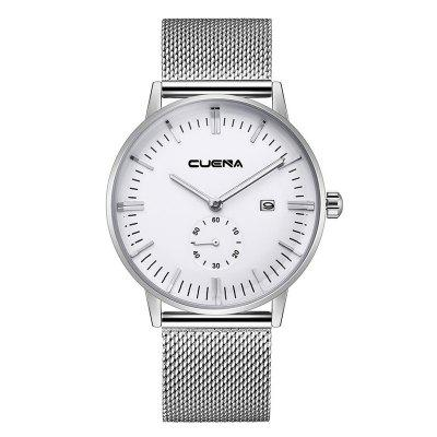 Buy SILVER AND WHITE CUENA 6622 Stylish Steel Band Men Quartz Watch for $27.32 in GearBest store