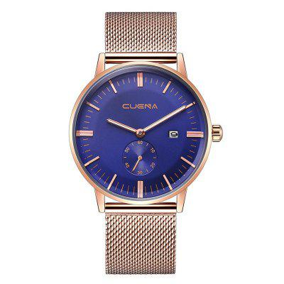 Buy BLUE AND GOLDEN CUENA 6622 Stylish Steel Band Men Quartz Watch for $27.32 in GearBest store