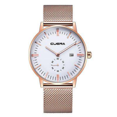 Buy WHITE AND GOLDEN CUENA 6622 Stylish Steel Band Men Quartz Watch for $27.32 in GearBest store