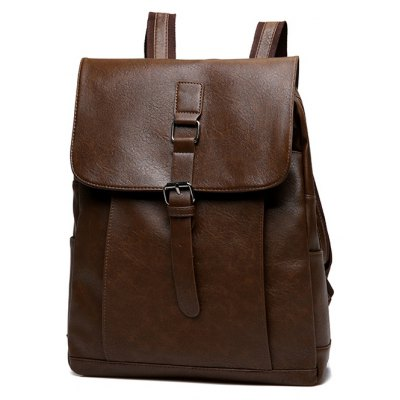 Buy Men Vintage Water-resistant Solid Color PU Backpack DEEP BROWN for $25.24 in GearBest store