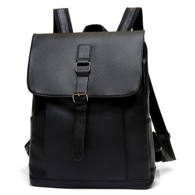 Men Vintage Water-resistant Solid Color PU Backpack