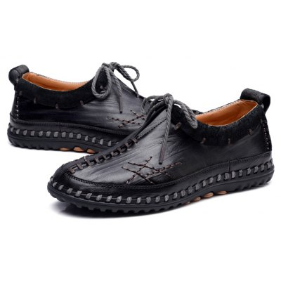 Buy Male Vintage Soft Handmade Stitching Oxford BLACK 39 for $44.99 in GearBest store