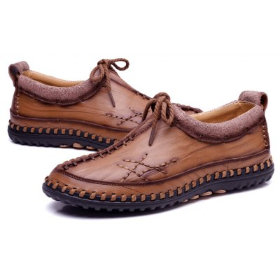 Buy Male Vintage Soft Handmade Stitching Oxford BROWN 41 for $44.99 in GearBest store