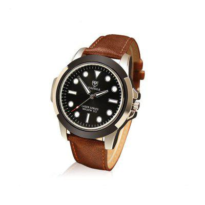Buy YAZOLE 372 Stylish Leather Band Men Quartz Watch BLACK for $13.93 in GearBest store