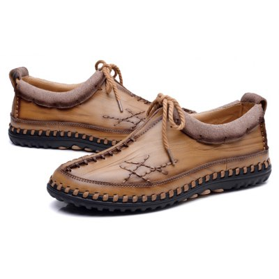 Buy Male Vintage Soft Handmade Stitching Oxford KHAKI 38 for $44.99 in GearBest store