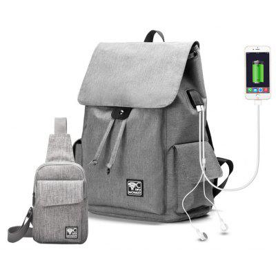 Leisure Nylon Backpack with USB Port Chest Bag Set