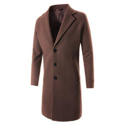 Casual Slim Fit Solid Color Long Wool Coat