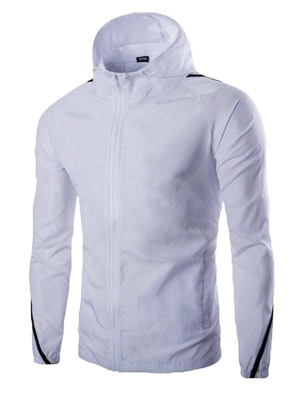 Male Pure Color Simple Zip up Hooded Slim Jacket