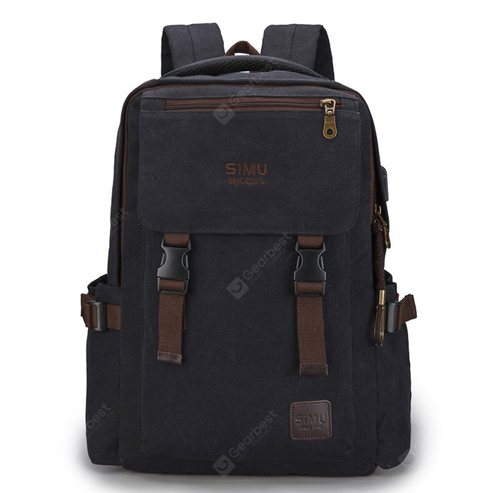 SIMU Vintage Water-resistant Laptop Backpack with USB Port