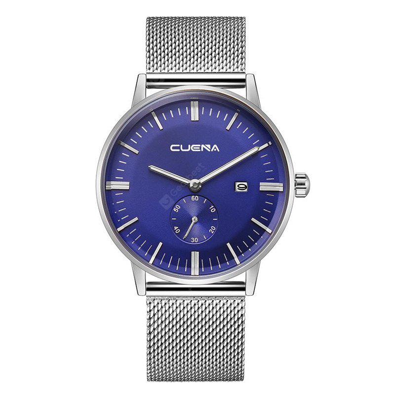 SILVER AND BLUE CUENA 6622 Stylish Steel Band Men Quartz Watch