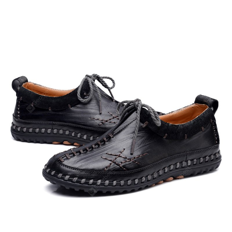 Male Vintage Soft Handmade Stitching Oxford BLACK 41