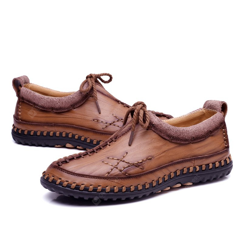 Male Vintage Soft Handmade Stitching Oxford BROWN 42
