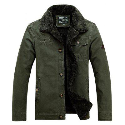 Buy ARMY GREEN L NIAN JEEP Casual Turn-down Fur Collar Jacket for Men for $76.11 in GearBest store