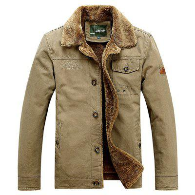 Buy KHAKI XL NIAN JEEP Casual Turn-down Fur Collar Jacket for Men for $76.11 in GearBest store