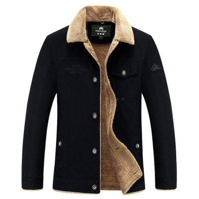 NIAN JEEP Casual Turn-down Fur Collar Jacket for Men