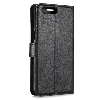 Solid Color Litchi Pattern Wallet Style Front Buckle Flip PU Leather Case with Card Slots for OnePlus 5