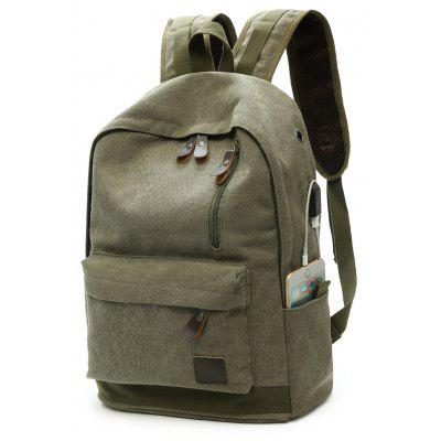Buy ARMY GREEN Men Trendy Canvas Backpack with USB Port for $20.93 in GearBest store